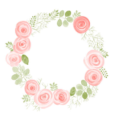Illustration pour Watercolor Leaf and Roses round frame. Vector illustration of hand drawn natural wreath for invitation cards, save the date, wedding card design. - image libre de droit