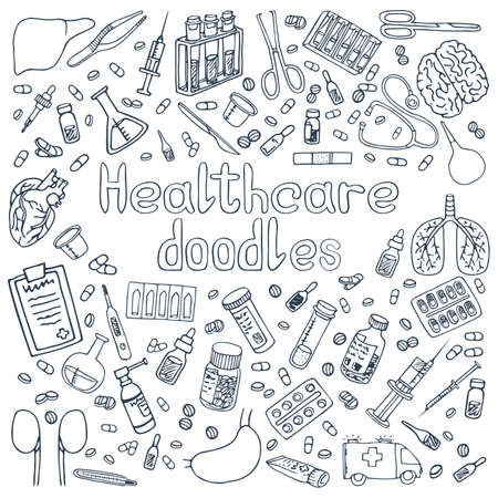 Illustration for A set of hand drawn Haelthcare doodles - Royalty Free Image
