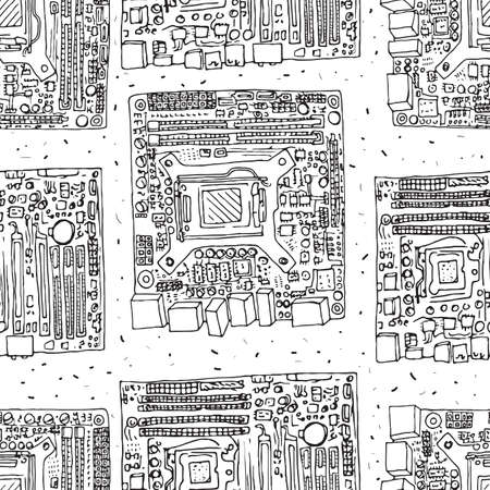 Illustration for Motherboard hand drawn seamless pattern. Electronic component of desktop computer - Royalty Free Image