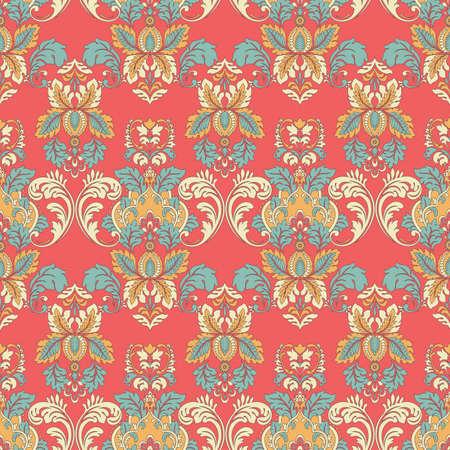 Illustration pour vintage floral seamless patten. Classic Baroque wallpaper. - image libre de droit
