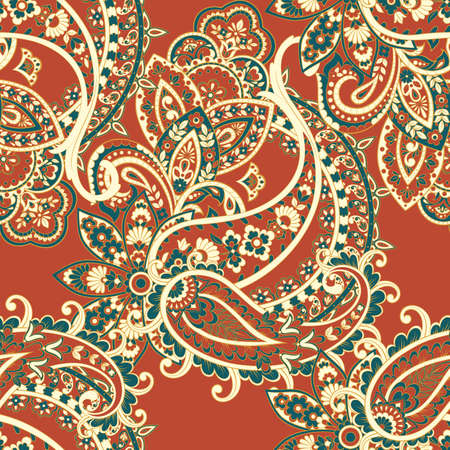 Illustration pour Paisley seamless pattern with flowers in indian style. - image libre de droit