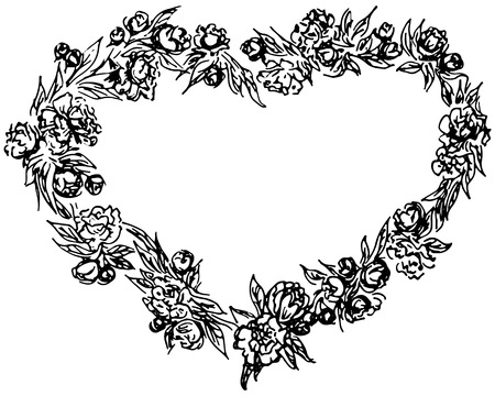 Illustration pour vector wreath in form of heart. Floral circle frame design elements for invitations, greeting cards, posters, blogs. Delicate set of flowers, branches and leaves - image libre de droit