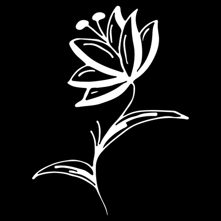 Illustration pour Abstract wildflower outline icon isolated on black background. Creative luxury fashion logotype concept icon. Hand Drawn vector illustration. wildflower logo. - image libre de droit