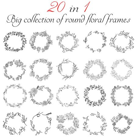 Illustration pour Big collection of 20 round floral frames. Big floral botanical flowers set isolated on a white background. Hand drawn outline vector collection. Spring blossom - image libre de droit