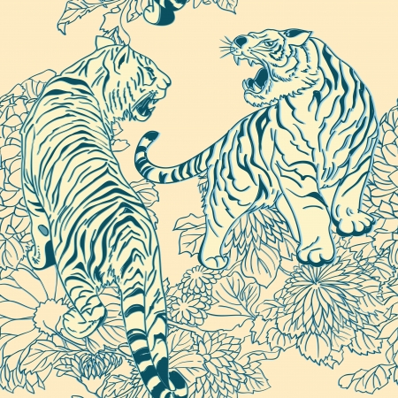 seamless pattern in the style of Japanese prints