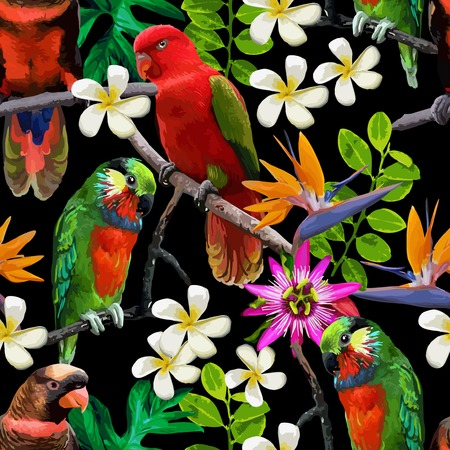 seamless pattern of exotic birds and beautiful flowers