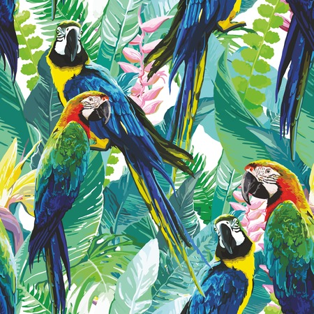 Ilustración de seamless pattern of colorful parrots and exotic flowers - Imagen libre de derechos