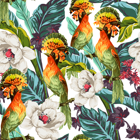Seamless pattern with bird of Paradise and exotic flowers