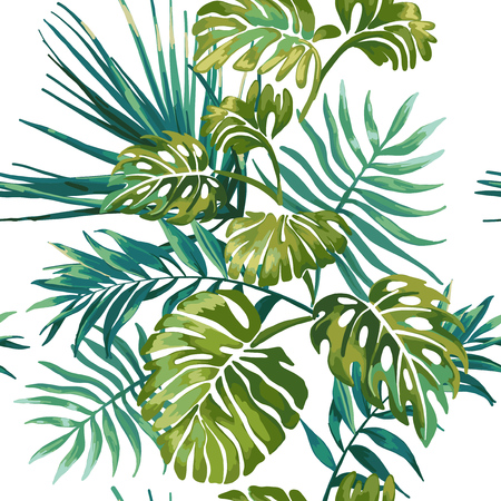 Illustration for Seamless pattern of jungle leaves on a white background. Tropical green Monstera. Jungle wildlife. - Royalty Free Image