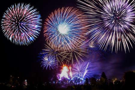 Foto de colorful fireworks on the night sky background. - Imagen libre de derechos