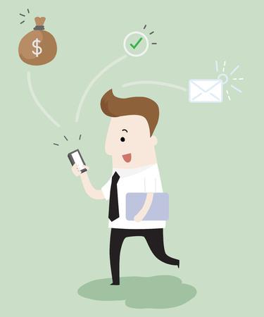 Illustration pour Businessman recieve messages ,vector and illustration - image libre de droit