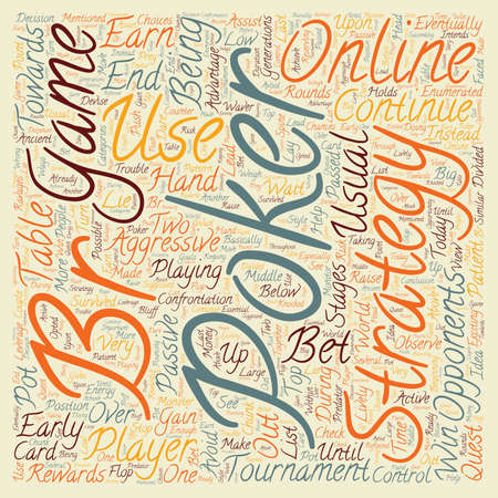 online poker strategy text background wordcloud concept