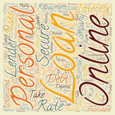 Personal Loans Online text background wordcloud concept