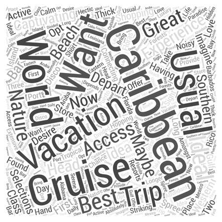 caribbean cruise Word Cloud Concept