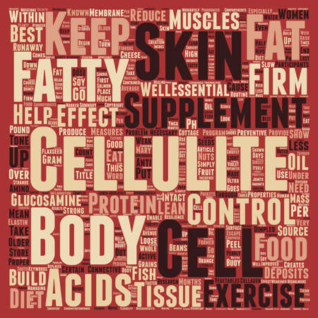 Foods and Supplements that Control Cellulite text background wordcloud concept