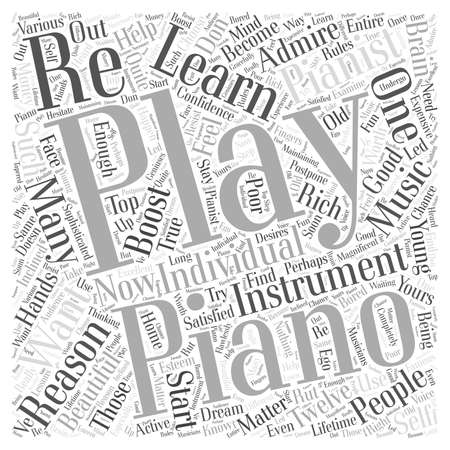 learn piano playing Word Cloud Concept