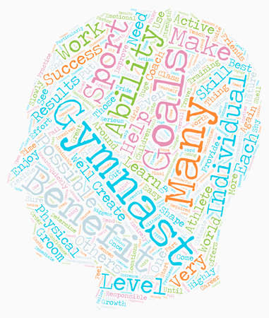 Benefits of Gymnastics text background wordcloud concept