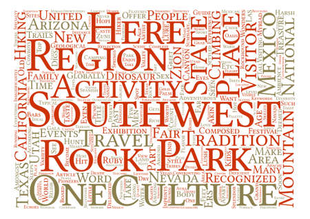 Guide to Southwest travel text background word cloud concept