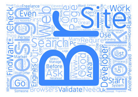 How to select a good web designer developer Word Cloud Concept Text Background