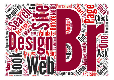 How to select a good web designer developer text background word cloud concept