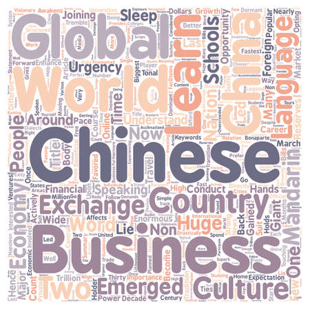 China Its Global Economy and Favored Chinese Language text background wordcloud concept