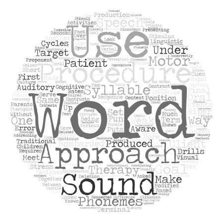 Therapy procedures for speech disorders text  word cloud concept.
