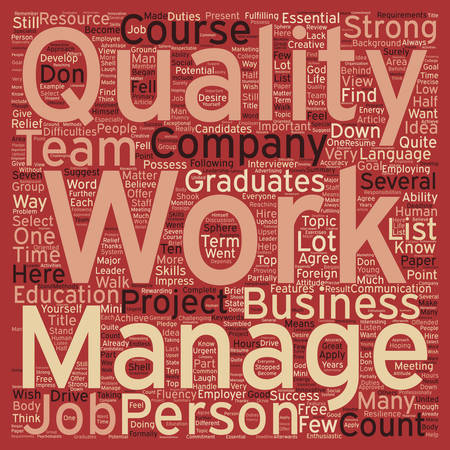 Seven Qualities to Get a Job You Want text background wordcloud concept