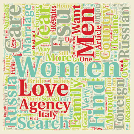 Why women from Russia in search of a husband abroad text background wordcloud concept