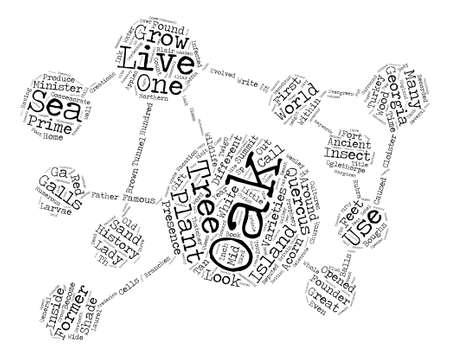 History Of Oak Trees Quercus Sp text background word cloud concept