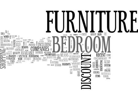 A GUIDE TO DISCOUNT BEDROOM FURNITURE TEXT WORD CLOUD CONCEPT
