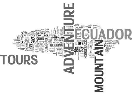 ADVENTURE TOURS IN ECUADOR TEXT WORD CLOUD CONCEPT