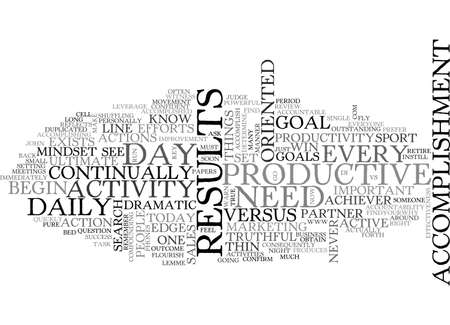 ACTIVITY VS ACCOMPLISHMENT TEXT WORD CLOUD CONCEPT