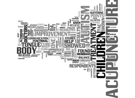 ACUPUNCTURE AND AUTISM TEXT WORD CLOUD CONCEPT: Royalty-free