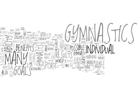 BENEFITS OF GYMNASTICS TEXT WORD CLOUD CONCEPT