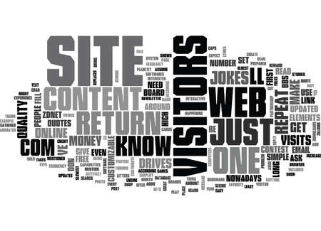 WHAT DRIVES REPEAT VISITORS TO YOUR SITE TEXT WORD CLOUD CONCEPT