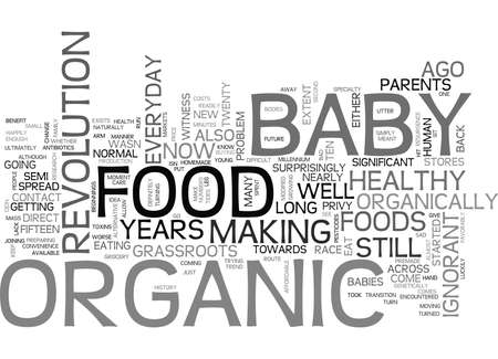 WHAT YOU SHOULD KNOW ABOUT ORGANIC BABY FOODS TEXT WORD CLOUD CONCEPT