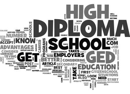 WHICH IS BEST GED OR DIPLOMA TEXT WORD CLOUD CONCEPT