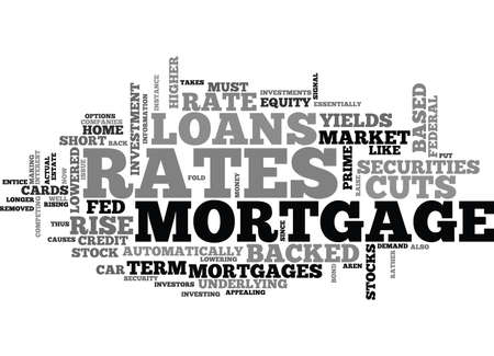 WHY MORTGAGE RATES RISE WHEN THE FED CUTS RATES TEXT WORD CLOUD CONCEPT