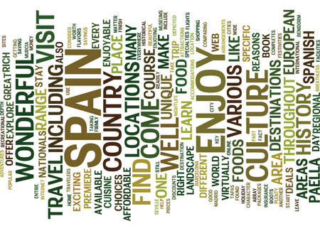 ENJOY THE FLAVORS OF SPAIN Text Background Word Cloud Concept