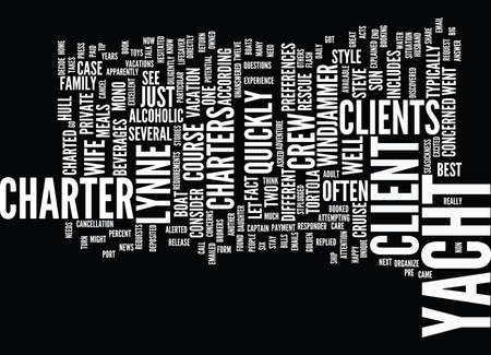 FIND YOUR CLIENT A PRIVATE YACHT CHARTER Text Background Word Cloud Concept