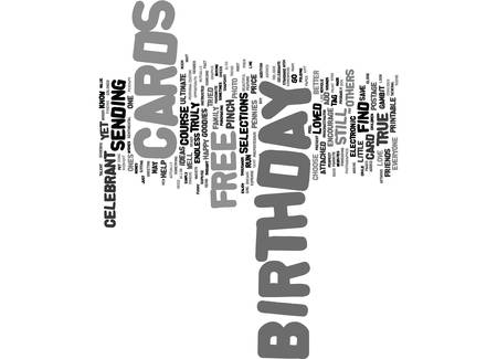 FREE BIRTHDAY CARDS Text Background Word Cloud Concept