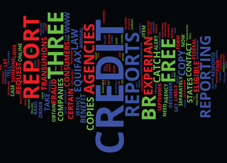 FREE CREDIT REPORTS FOR YOU Text Background Word Cloud Concept