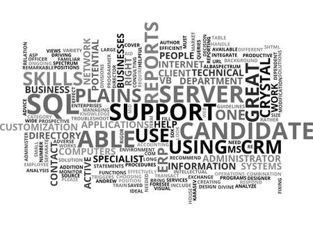 IT SKILLS FOR MS GREAT PLAINS AND CRM Text Background Word Cloud Concept
