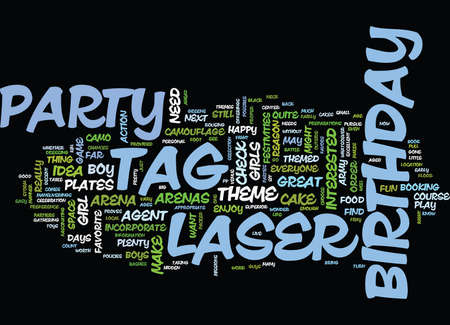 LASER TAG BIRTHDAY PARTY Text Background Word Cloud Concept
