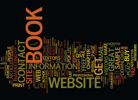 YOUR BOOK AND A GREAT WEBSITE Text Background Word Cloud Concept