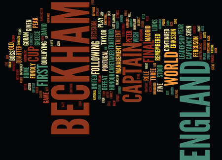 BECKHAM TAKES A LEAD IN MENS JEWELLERY Text Background Word Cloud Concept