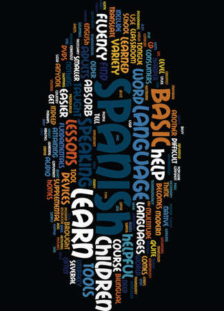 TECHNOLOGY HELPS YOU LEARN BASIC SPANISH Text Background Word Cloud Concept