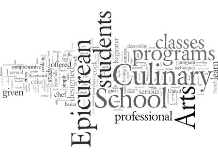 Epicurean School of Culinary Arts, vector illustration typography text art