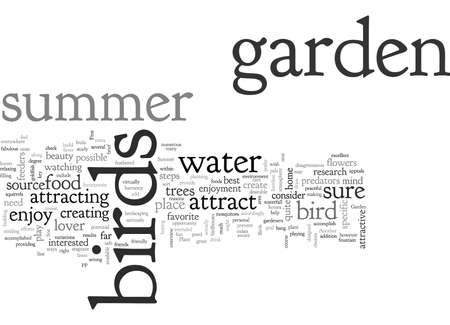A Summer Garden for the Birds, typography text art vector illustration