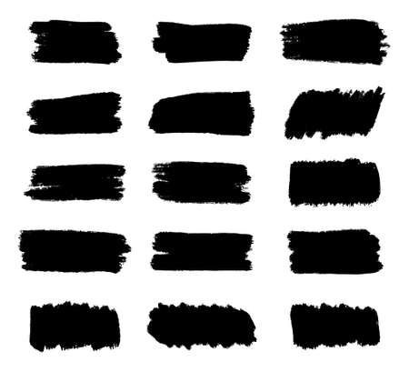 Illustration pour Set of Black Brush strokes, Dirty artistic grunge design elements, Text box or Frame for Text, Vector and Illustration. - image libre de droit
